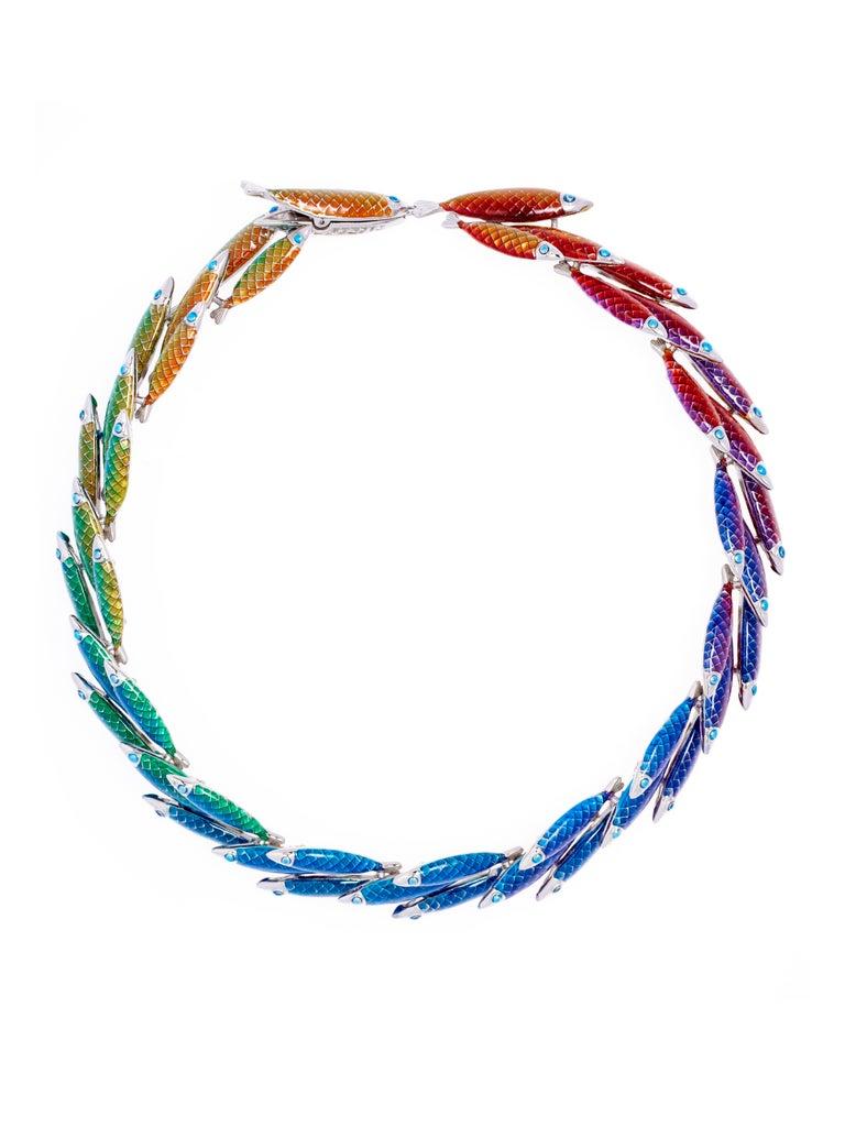 Contemporary Simon Harrison Electra Rainbow Enamel Fish Necklace For Sale