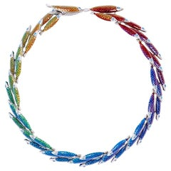 Simon Harrison Electra Rainbow Enamel Fish Necklace