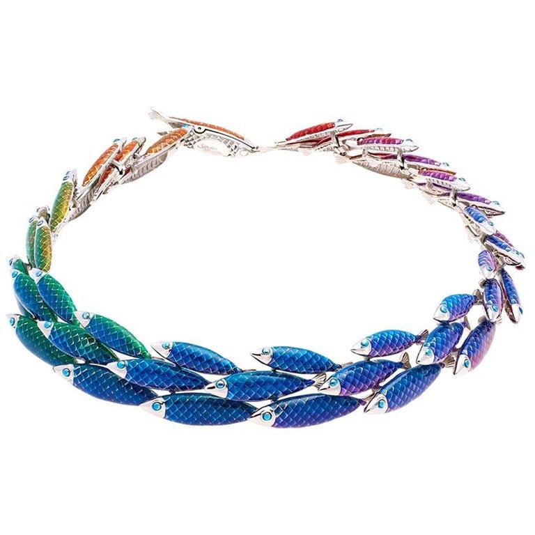 Simon Harrison Electra Rainbow Enamel Fish Necklace For Sale