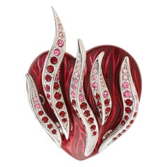 Simon Harrison Flaming Heart Enamel and Crystal Brooch