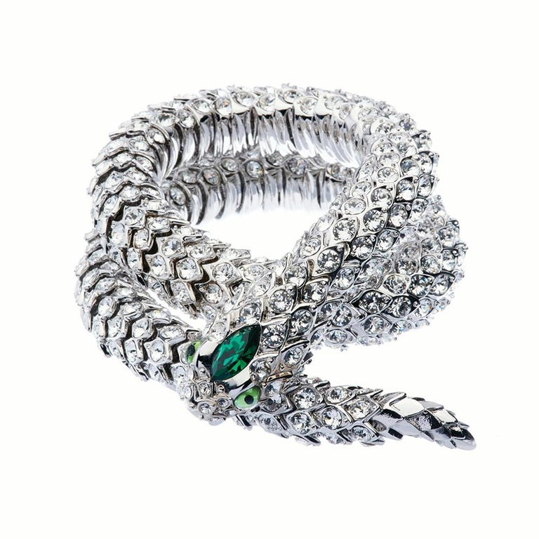 Contemporary Simon Harrison Green Crystal Snake Necklace For Sale