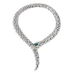 Simon Harrison Green Crystal Snake Necklace