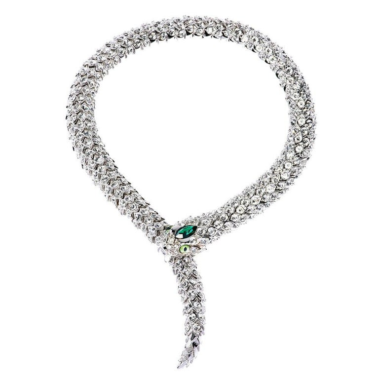 Simon Harrison Green Crystal Snake Necklace For Sale