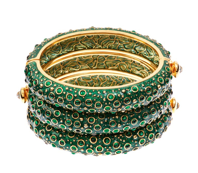 Simon Harrison Green Enamel Frog Prince Narrow Bangle In New Condition For Sale In London, GB