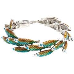 Simon Harrison Green Ombre Enamel Small Electra Fish Bracelet