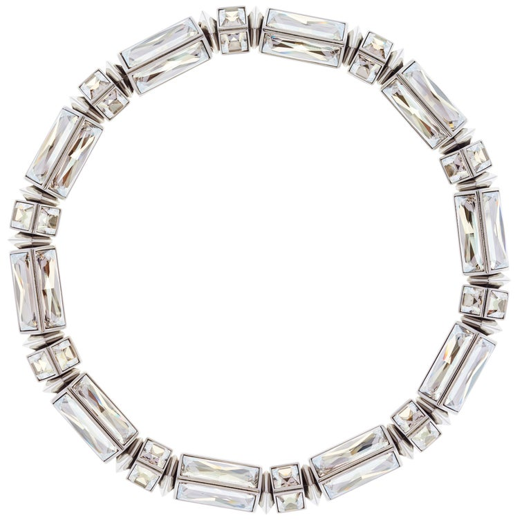 Simon Harrison Hannah Clear Baguette Necklace For Sale