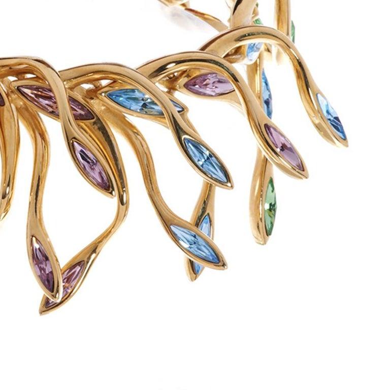 Contemporary Simon Harrison Hera Peacock Plume Crystal Bracelet For Sale