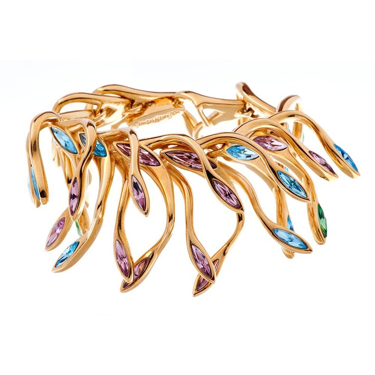Women's Simon Harrison Hera Peacock Plume Crystal Bracelet For Sale