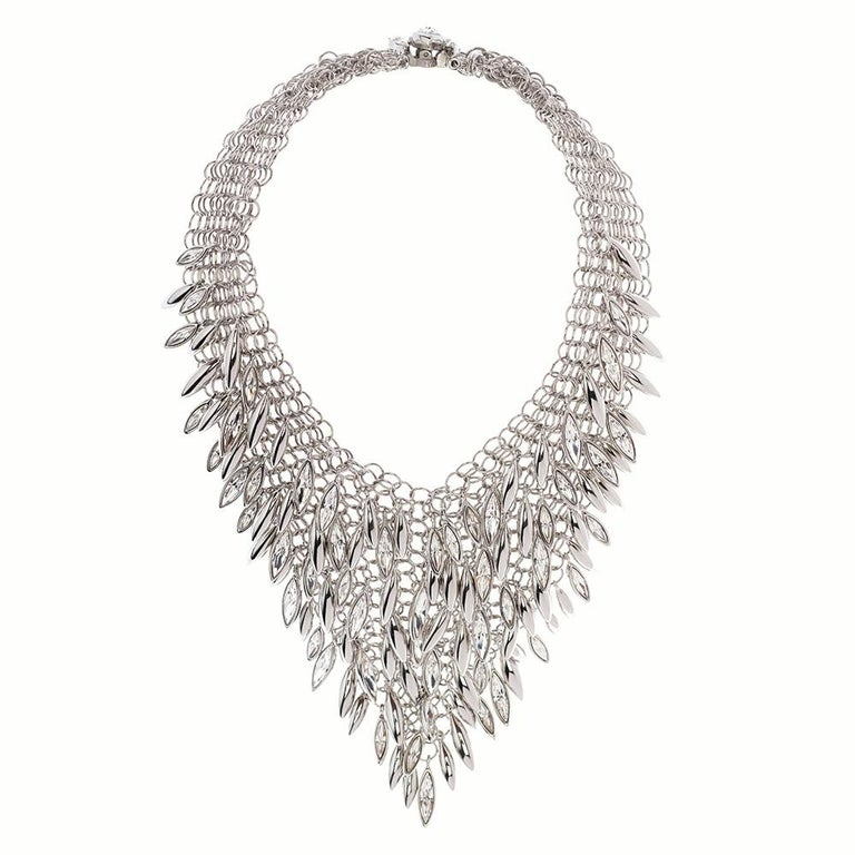 Contemporary Simon Harrison Minerva Clustered Navette Stainless Steel Chainmail Necklace For Sale