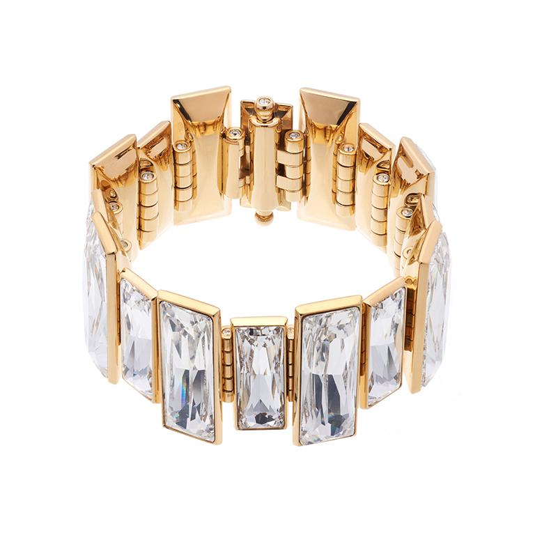 Contemporary Simon Harrison Panther Gold Plated Stainless Steel & Crystal Bracelet For Sale