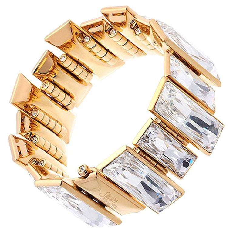Simon Harrison Panther Gold Plated Stainless Steel & Crystal Bracelet For Sale