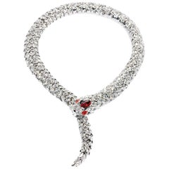 Simon Harrison Red Crystal Snake Necklace