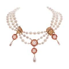Simon Harrison Romeo & Juliet Three Row Pearl Necklace