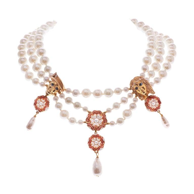 Simon Harrison Romeo & Juliet Three Row Pearl Necklace For Sale