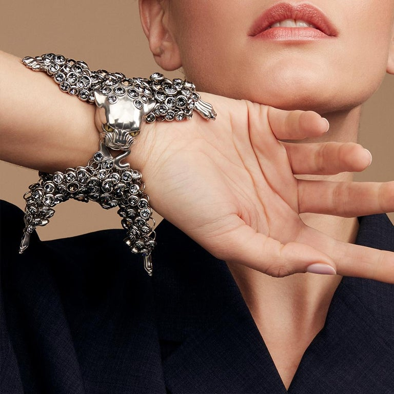 Simon Harrison Stainless Steel & Crystals Dionysus Leopard Bracelet In New Condition For Sale In London, GB