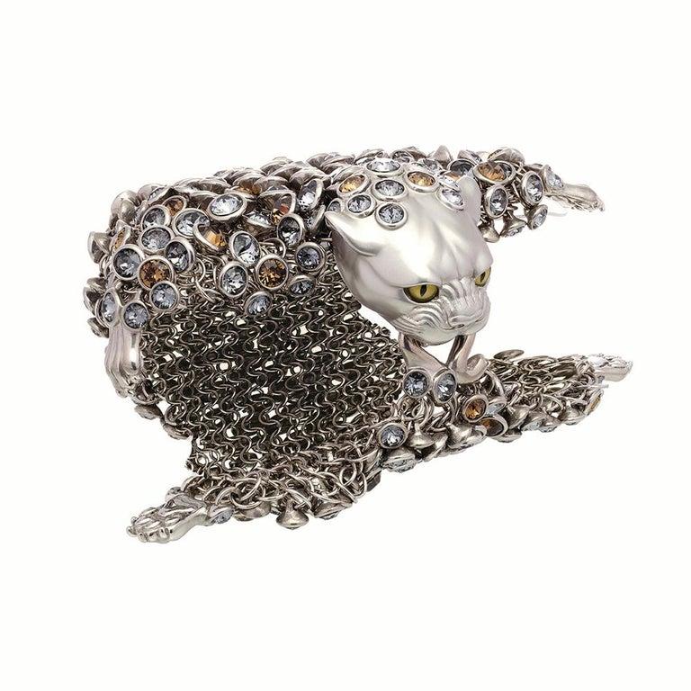 Women's Simon Harrison Stainless Steel & Crystals Dionysus Leopard Bracelet For Sale