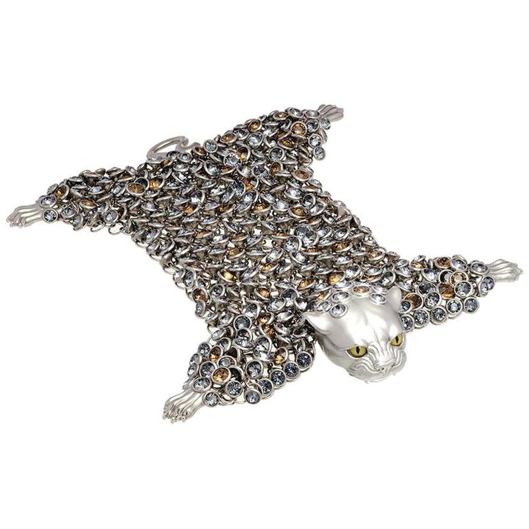 Simon Harrison Stainless Steel & Crystals Dionysus Leopard Bracelet For Sale