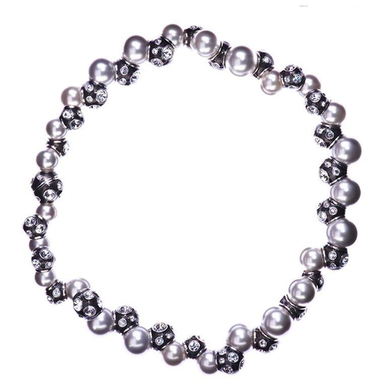 Women's Simon Harrison Valent Pearl And Crystal Set Black Enamel Bead Necklace For Sale