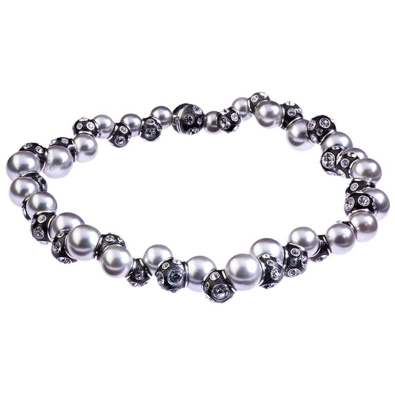 Simon Harrison Valent Pearl And Crystal Set Black Enamel Bead Necklace For Sale