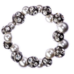 Simon Harrison Valent Pearl And Crystal Set Enamel Bead Bracelet