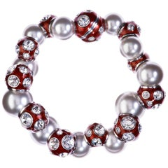 Simon Harrison Valent Pearl And Crystal Set Red Enamel Bead Bracelet