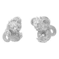 Simon Harrison Zodiac East Sterling Silver Dragon Cufflink