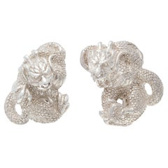 Simon Harrison Zodiac East Sterling Silver Dragon Cufflinks