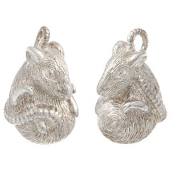 Simon Harrison Zodiac East Sterling Silver Rat Cufflink