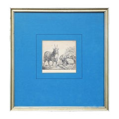 17th Century Realistic Goat Etching Print