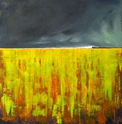 CAVEline - contemporary abstract landscape bright yellow mixed media canvas