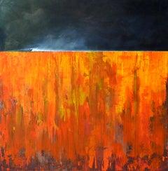 ENDLESSline - abstract landscape bright orange