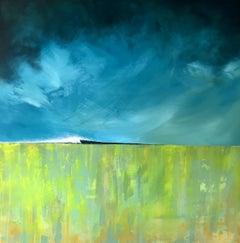 Left Burst - contemporary landscape abstract mountain mixed media canvas