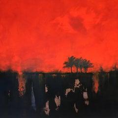 Morning Heat - contemporary abstract palm tree landscape mixed media canvas