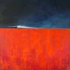 Red Right - contemporary abstract landscape red mixed media canvas