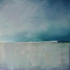 Sticks-L  -contemporary abstract blue and grey surf seascape oil on canvas