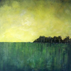 Stitches - contemporary landscape abstract green mixed media canvas