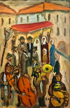 Judaica Oil Painting Shtetl Hasidic Jewish Klezmer Wedding Chuppah Celebration