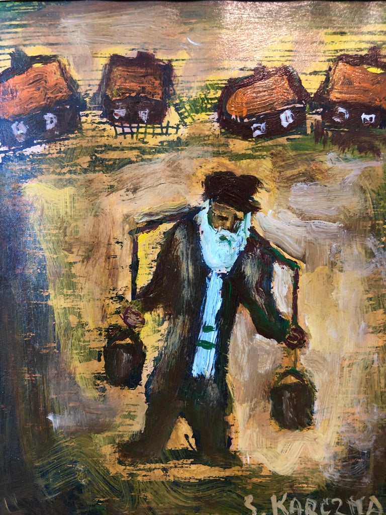 Judaica Polish Oil Painting Hasidic Eastern European Jewish Shtetl Water Carrier - Brown Portrait Painting by Simon Natan Karczmar
