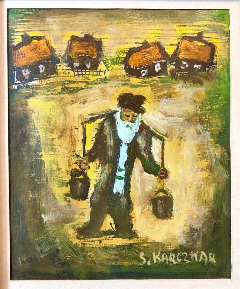 Judaica Polish Oil Painting Hasidic Eastern European Jewish Shtetl Water Carrier 1