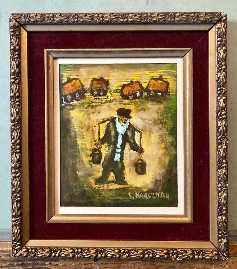 Judaica Polish Oil Painting Hasidic Eastern European Jewish Shtetl Water Carrier 3