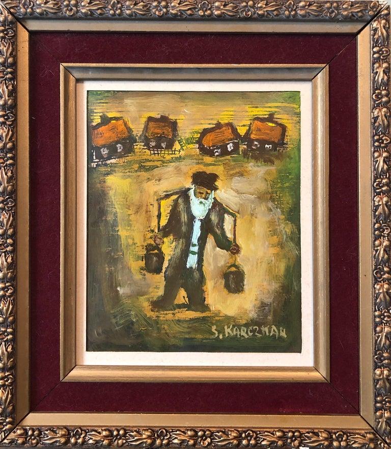 Simon Natan Karczmar Portrait Painting - Judaica Polish Oil Painting Hasidic Eastern European Jewish Shtetl Water Carrier