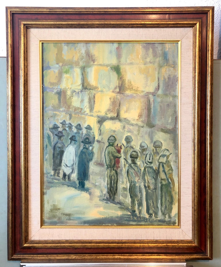 Israeli Tzahal, IDF Soldiers and Chassidic men praying and dancing at the Kotel, Western Wall in jerusalem israel. Fine oil painting. 24 x 18 canvas, 32.5 x 27.5 inches with frame.   Simon Natan Karczmar (born November 1, 1903 in Warsaw , died 1982