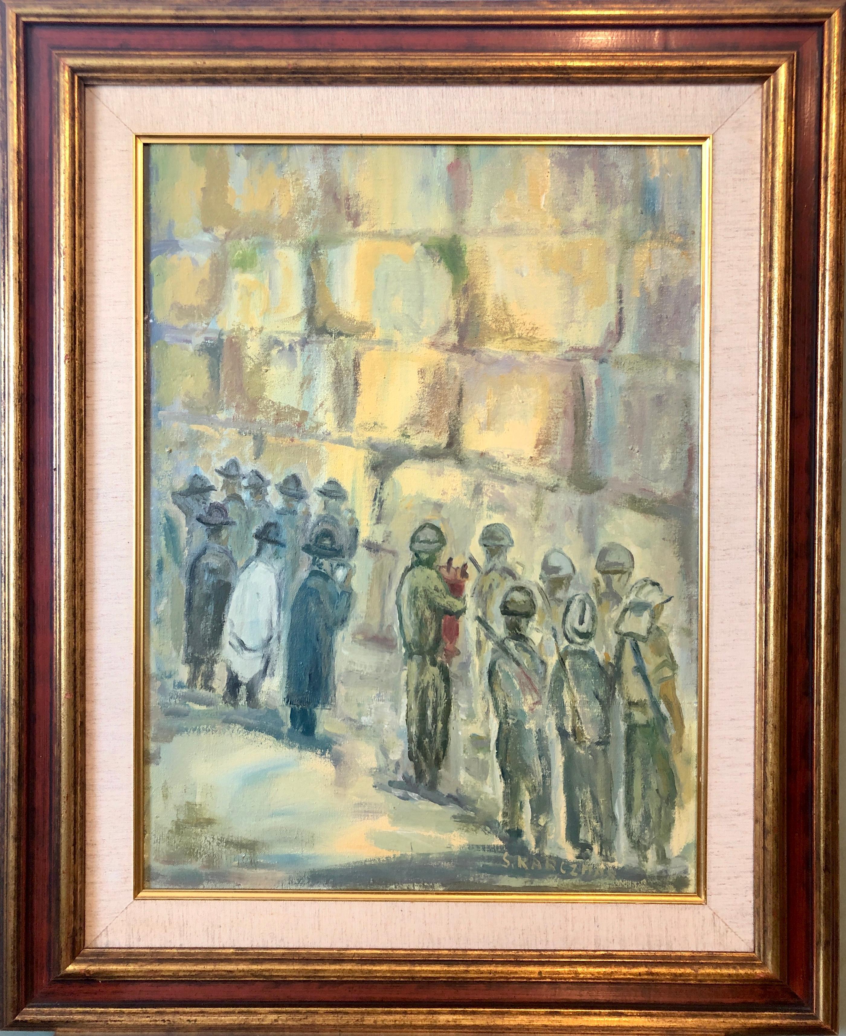 Judaica Polish Oil Painting Hasidic Jewish Prayers, Israeli Soldiers Jerusalem