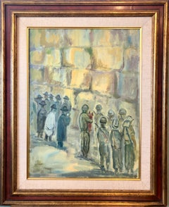 Judaica Polish Oil Painting Hasidic Jewish Prayers, Israeli Soldiers Jerusalem