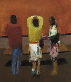 GALLERY 2, people standing in art gallery, yellow, blue, red, brown wall