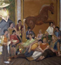NATIONAL GALLERY, people sitting in front of painting, contemporary still life