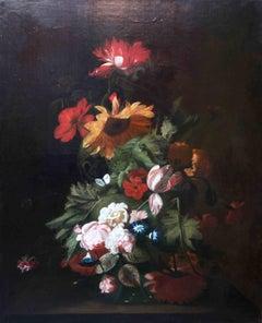 Floral Arrangement- Dutch Old Master still life oil painting tulips sunflower