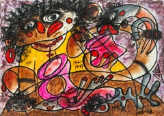 Hot and Cold - Abstract Painting Pastel on Paper Yellow Orange White Brown Red
