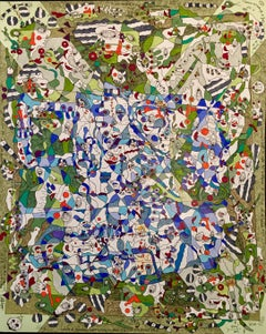 In The Intimate Confession - Acrylic Painting Green Black Brown Blue Beige Red
