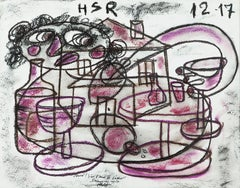 It's Apero Time - Painting Pastel on Paper Black White Brown Red Pink Blue